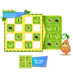 Logic sudoku game insects vector
