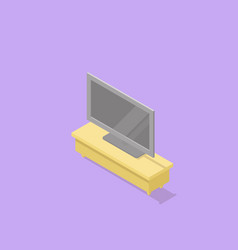 low poly isometric tv stand with tv vector image