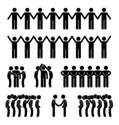 man united unity community holding hand stick vector image