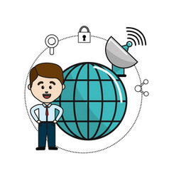 man with global data information and wifi security vector image