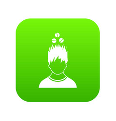 Man with tablets over head icon digital green vector