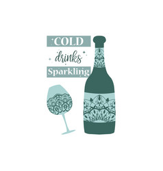 Mandala art design glass and bottle champagne vector