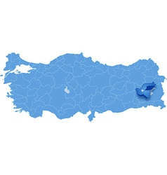 Map of Turkey Bitlis vector