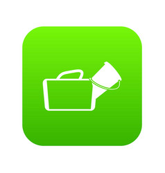 medical bag icon digital green vector image