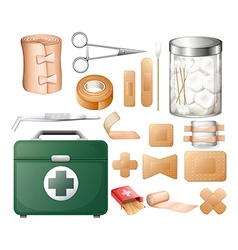 Medical equipment in firstaid box vector image
