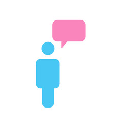 message icon person with chat speech bubble vector image