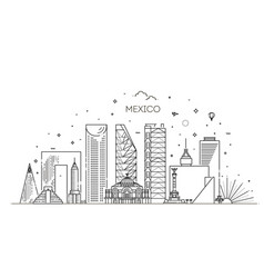mexico city skyline on a white background flat vector image