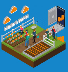 Mining farm isometric composition vector