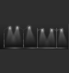 Modern city street lights row realistic vector