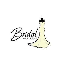 monochrome bridal boutique logo sign icon vector image