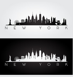 New york usa skyline and landmarks silhouette vector