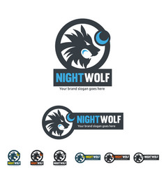 Night wolf identity roar wolf with the moon shape vector