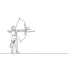 One continuous line drawing young archer man vector