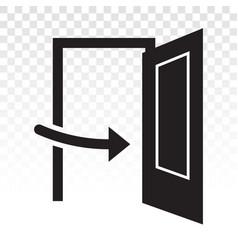 Open door main entrance with arrow sign flat vector