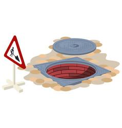 Open sewer manhole sign repair work vector