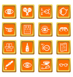 Ophthalmologist icons set orange square vector