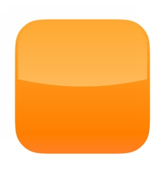 Orange glossy button blank icon square empty shape vector image