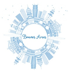 Outline Buenos Aires Skyline with Blue Landmarks vector image vector image