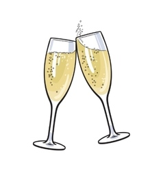 Pair of champagne glasses holiday toast vector