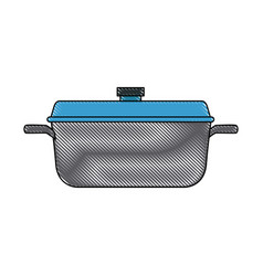 Pan of stainless casserole cooking domestic vector