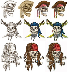 Pirates - Pirate skulls collection hand drawings vector