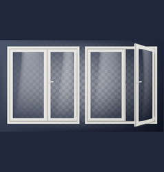 plastic glass door opened and closed vector image