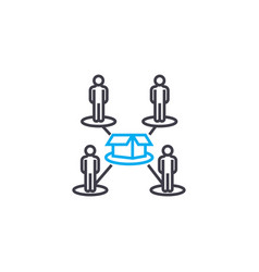 Production line workers linear icon concept vector