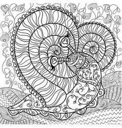 Romance snail coloring page vector