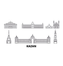 Russia kazan line travel skyline set russia vector