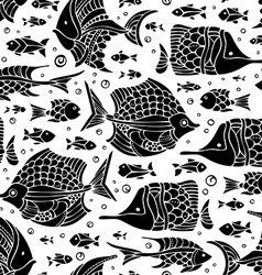 seamless fish silhouettes pattern vector image