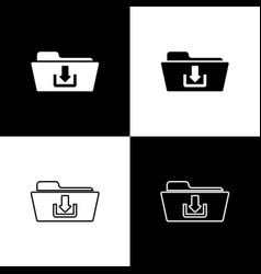 set folder download icons isolated on black and vector image