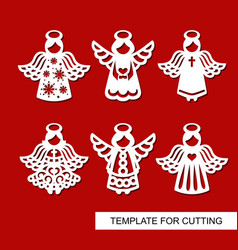 Set of christmas decoration - silhouettes of angel vector