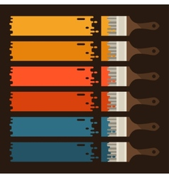 Set of paint brushes with colored strips vector