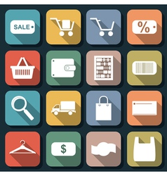 Shopping and trading flat icons vector image