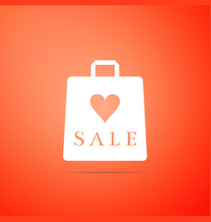 shopping bag shop love like heart symbol with sale vector image