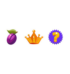 slot machine symbols plum fruit crown question vector image