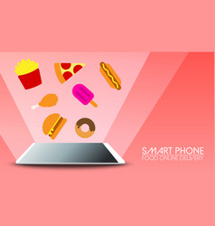 smart phone food online delivery on red background vector image