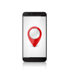 smartphone with map pointer on screen vector image