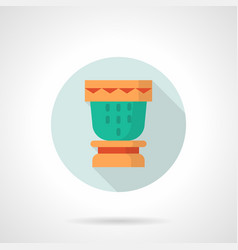 Souvenir drum flat round icon vector