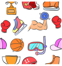 Sport equipment doodles vector