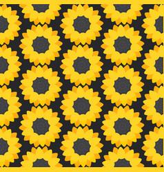 Sunflower flat seamless pattern vector