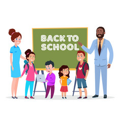 teachers and students back to school vector image