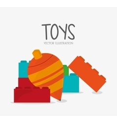 Top and blocks toy and game design vector