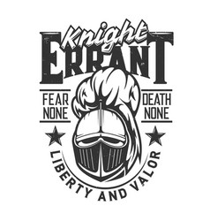 Tshirt print with knight head mascot label vector