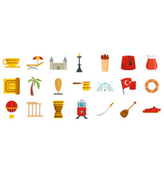 Turkey country icons set flat isolated vector