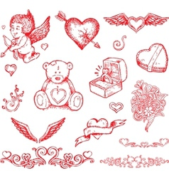 Valentines day hand drawn elements vector