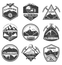 Vintage monochrome mountain climbing labels set vector