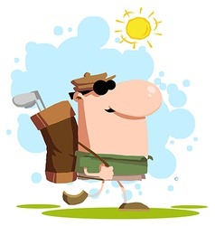 Walking Golfer Carrying A Bag On His Back vector