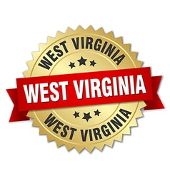 West virginia round golden badge with red ribbon vector
