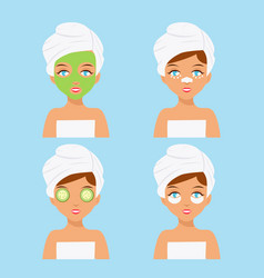 woman care cosmetics face rejuvenation clean skin vector image